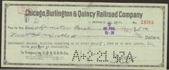 #ZZZ020 - 1947 Chicago, Burlington & Quincy Railroad Check