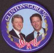 #PL206 - Clinton Gore Pictorial Pinback with Flags