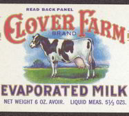#ZLCA112 - Clover Farm Evaporated Milk Can Label with Cow Image