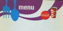 #CC114 - Colorful Coke Menu Sheet Purple Background