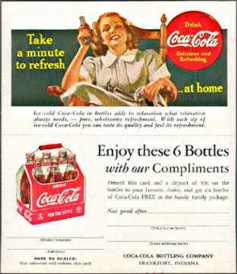 #CC025 - 1940s Coca Cola Ad Card with Lady