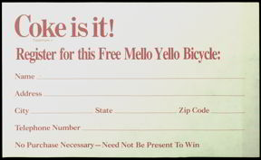 #CC134- 1979 Coke Entry to Win Mello Yello Bicycle