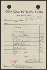 #CC124- 1950s Coca Cola Route Sheets from the New Albany, MS Plant