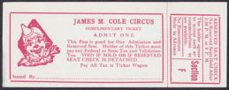 #CIR004 - James M. Cole Circus Complimentary Ticket