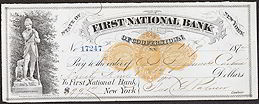 #ZZZ021 - 1870s Checks from 1st National Bank of Cooperstown, NY