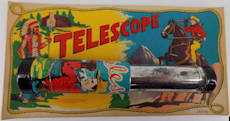 #TY560 - Metal and Glass Tin Lithographed Japanese Toy Cowboy Telescope on Display Card