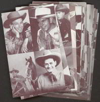 #ZZA110 16 Card Original 1940/50s Exhibit Supply 4 in 1 Cowboy Card Set
