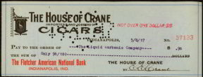 #ZZZ005 - 1917 Cancelled House of Crane Cigars Check
