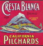 #ZLCA109 - Cresta Blanca California Pilchards Can Label