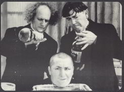 #CH226 - Oversized Trilby Three Stooges Poster-Card with Curly in Trouble