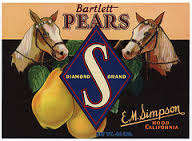 #ZLC224 - Diamond S Brand Bartlett Pear Crate Label