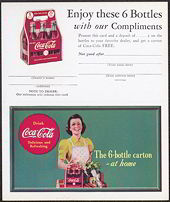 #CC192 - 1940s Coca Cola Ad Card with Lady with Apron Coke and Groceries