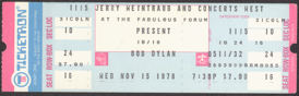 #MUSIC632 - 1978 Bob Dylan Ticket from the Fabulous Forum