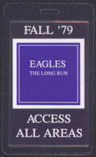 #MUSIC354  - Rare 1979 Eagles Laminated Backstage Pass from The Long Run Tour