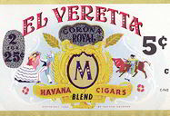 #ZLCA118 - El Veretta 5¢ Cigar Can Label