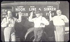 #CH227 - Oversized Trilby Three Stooges Poster-Card with Fish Truck