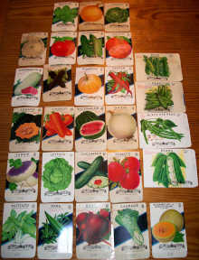 #CS341 - Set of 28 Different 5¢ and 10¢ Fruit and Vegetable Seed Packs from the 1940/50s