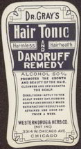 #ZBOT094 - Dr. Gray&#39;s Hair Tonic and Dandruff Remedy Bottle Label