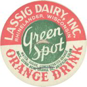 #DC097 - Lassig Dairy Green Spot Orange Drink Milk Bottle Cap