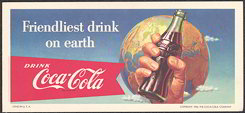 #CC206 - 1956 Coca Cola Hand Holding Bottle Ink Blotter