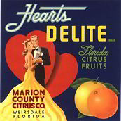 #ZLC221 - Hearts Delite Florida Citrus Crate Label