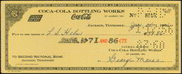 #CC067 - Coca Cola Check from the Jackson Tennessee Plant