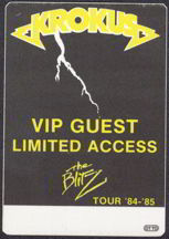 #MUSIC124  - 1984/85 Krokus The Blitz Tour OTTO Backstage Pass