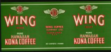 #ZLCA037 - Wing Brand Hawaiian Kona Coffee Label