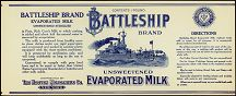#ZLCA044 - Battleship Brand Unsweetened Evaporated Milk Label