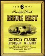 #ZLW038 - Berns Best Kentucky Straight Bourbon Whiskey Label