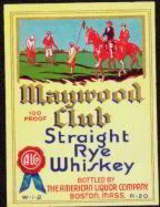 #ZLW032 - Maywood Club Whiskey Label with Golfers