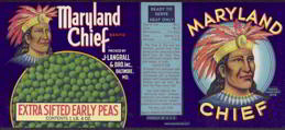 #ZLCA086 - Maryland Chief Extra Sifted Early Peas Can Label with Indian