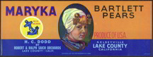#ZLC210 - Maryka Bartlett Pear Label with Dutch Girl