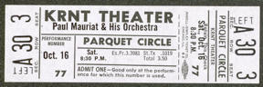 #MUSIC348 - 1971 Paul Mauriat & His Orchestra Ticket from the KRNT Theater