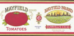 #ZLCA107 - Scarce Mayfield Tomato Can Label