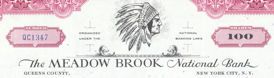 #ZZZ059 - The Meadow Brook National Bank Stock Certificate - Indian Logo