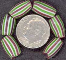 #BEADS0063 - Larger Striped Melon Chevron Trading Bead - Maroon, Green and White