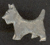 #TY361 - Nickel Silver Prong Backed Metal Scottie Dogs
