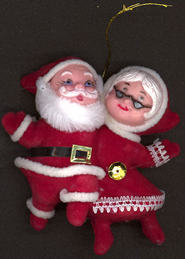 #HH145 - Good Quality Hand Painted Mr and Mrs Santa Clause Ornament with String