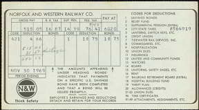 #CA045 - 1969 Norfolk and Western Railroad Pay Stub