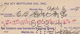 #ZZZ057 - Nu Icy Bottling Company Check from Macon, Georgia