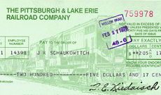 #ZZZ055 - The Pittsburgh & Lake Erie Railroad Company Check