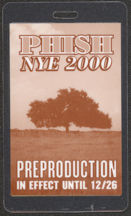#MUSIC446  - 2000 PHISH Laminated Backstage Pass - NYE Preproduction Pass