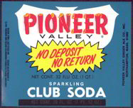 #ZLS119 - Pioneer Valley Sparkling Club Soda Bottle Label