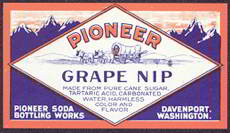 #ZLS121 - Pioneer Grape Nip Soda Label with Covered Wagon