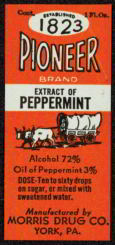 #ZBOT075- Pioneer Extract of Peppermint Bottle Label
