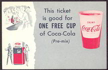 #CC189 - Coca Cola This Ticket Good for One Free Cup Coupon