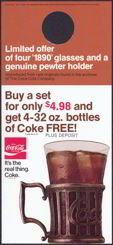 "#CC183 - Coca Cola Bottle Hanger with ""It's the Real Thing"" ad for Pewter Mugs and Free Coke"