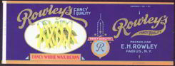 #ZLCA122 - Heavily Embossed and Gilded Rowley's Fancy Whole Waxed Bean Can Label
