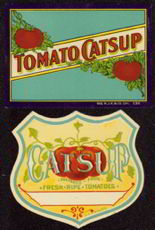 #ZBOT066- Pair of Early Ketchup Bottle Labels